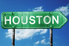 houston road sign , worn and damaged look - stock illustration