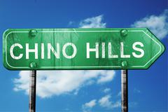 Chino hills road sign , worn and damaged look Stock Illustration