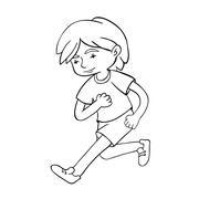 Run boy contour vector illustration. - stock illustration