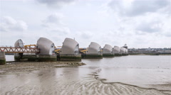 Time lapse: Thames Flood Barrier at low tide - stock footage