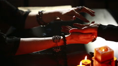 Witch - fortune teller reading fortune. palmistry Stock Footage