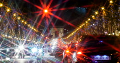 Champs-Elysees boulevard at night with traffic jam Stock Footage