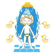 Boy takes a shower color vector drawing. - stock illustration