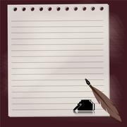 quill pen with chalkboard background - stock illustration