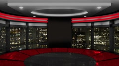 News TV Studio Set 141-Virtual Green Screen Background Loop - stock footage