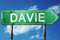 davie road sign , worn and damaged look - stock illustration