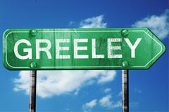 Stock Illustration of greeley road sign , worn and damaged look