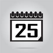 Calendar icon number 25 vector illustration Stock Illustration
