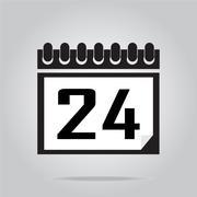 Calendar icon number 24 vector illustration Stock Illustration