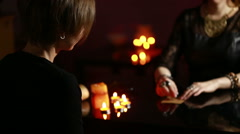 fortuneteller. divination by the runes - stock footage