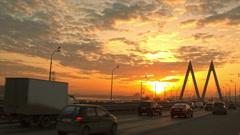Kazan Millenium bridge skyline sunrise.  Timelapse - stock footage