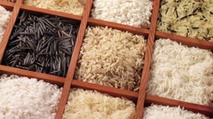 RICE IN CLOSE UP MACRO TRACKING SHOT OVERHEAD Stock Footage