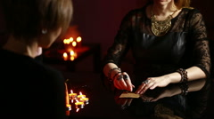 Fortuneteller. divination by the runes Stock Footage