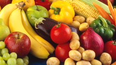 FRUIT VEG IN CLOSE UP MACRO TRACKING SHOT OVERHEAD Stock Footage