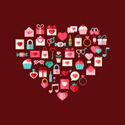 Heart shaped valentine day flat style icons Stock Illustration