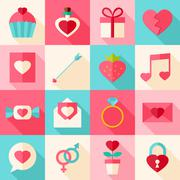 Valentine day flat icon set with long shadow Stock Illustration
