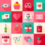 Valentine day flat style icon set with long shadow Stock Illustration
