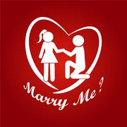 Stock Illustration of Couple symbol, Marry me illustration