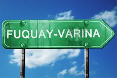 Fuquay-varina road sign , worn and damaged look Stock Illustration