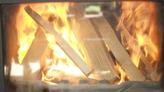 Wood in the fireplace inflame Stock Footage