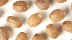 WHOLE  NUTMEG IN CLOSE UP MACRO TRACKING SHOT OVERHEAD Stock Footage