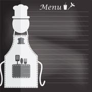 Apron with menu on chalk board background concept for background - stock illustration