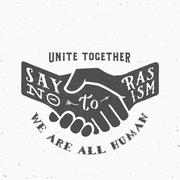 Say No to Racism Vintage Vector Handshake Silhouette with Retro Typography and - stock illustration