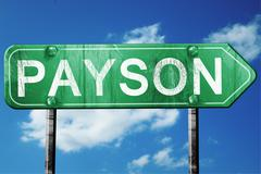 Payson road sign , worn and damaged look Stock Illustration