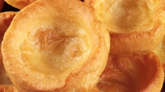 YORKSHIRE PUDDING/POPOVER IN CLOSE UP MACRO TRACKING SHOT  Stock Footage