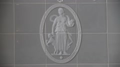 Porcelain tile with classic figure relief in luxury bath Stock Footage