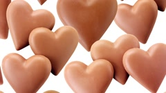 CHOCOLATE HEARTS  IN CLOSE UP TRACKING SHOT  Stock Footage