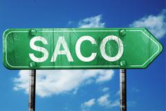 Stock Illustration of saco road sign , worn and damaged look