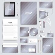 Grey set of vector corporate identity template. Modern business stationery mock - stock illustration