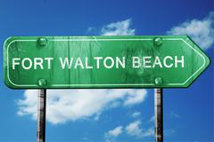 Fort walton beach road sign , worn and damaged look Stock Illustration