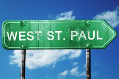 west st. paul road sign , worn and damaged look - stock illustration