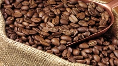 COFFEE BEANS IN CLOSE UP TRACKING SHOT OVERHEAD Stock Footage