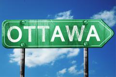 Ottawa road sign , worn and damaged look Piirros
