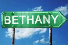 bethany road sign , worn and damaged look - stock illustration