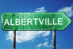 albertville road sign , worn and damaged look - stock illustration