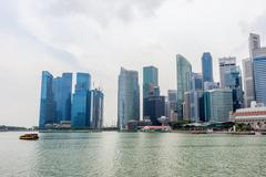 Modern metropolis at riverside, Singapore - stock photo