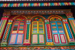 Detail of colorful landmark in Little india, Singapore - stock photo