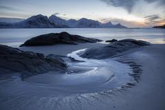 Coastline beach of Ytter Vagje in winter Lofoten Norway Vik Lofoten Norway - stock photo