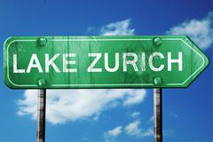 Stock Illustration of lake zurich road sign , worn and damaged look
