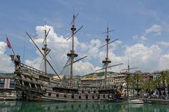 Battleship Neptune Il Galeone Neptune Marina di Porto Antico Genoa Liguria Stock Photos