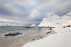 Bay Vikbukta in winter in Vik Lofoten Norway Lofoten Norway Europe - stock photo