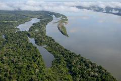 Aerial view river Rio Tapajos by the Amazon rainforest Itaituba Para state Stock Photos