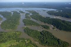 Aerial view river landscape small islands in the river Rio Tapajos in the Stock Photos