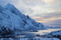 Landscape in winter bay near Unstad Lofoten Norway Europe - stock photo