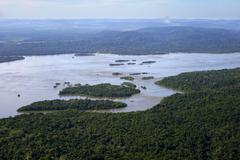 Aerial view river Rio Tapajos and Amazon rainforest Itaituba Para state Brazil Stock Photos