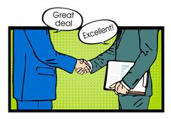 Partnership handshake to business success pop art - stock illustration